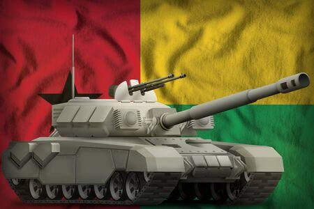 heavy tank on the Guinea-Bissau flag background. 3d Illustration