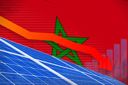 Morocco solar energy power lowering chart, arrow down  - green energy industrial illustration. 3D Illustration