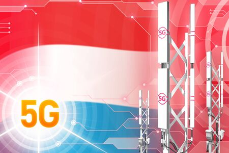 Luxembourg 5G network industrial illustration, large cellular tower or mast on digital background with the flag - 3D Illustration 写真素材