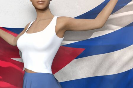 cute woman in bright skirt is holding Cuba flag in her hands behind her on the white background - flag concept 3d illustration