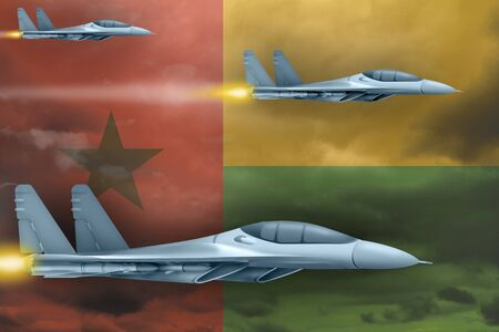 Guinea-Bissau air strike concept. Modern war airplanes attack on Guinea-Bissau flag background. 3d Illustration