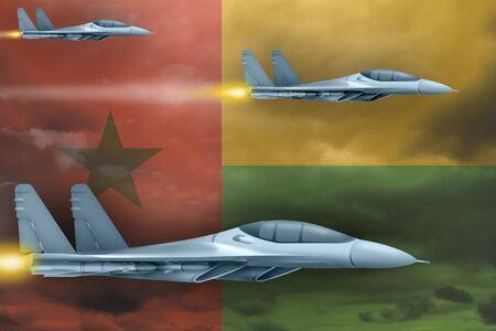 Guinea-Bissau air strike concept. Modern war airplanes attack on Guinea-Bissau flag background. 3d Illustration