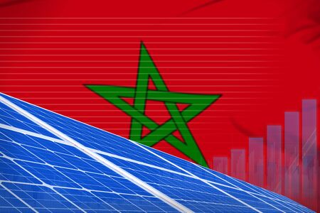 Morocco solar energy power digital graph concept  - green energy industrial illustration. 3D Illustration