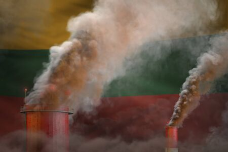 dense smoke of industry chimneys on Lithuania flag - global warming concept, background with space for your content - industrial 3D illustration