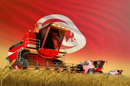 agricultural combine harvester working on grain field with Tunisia flag background, food production concept - industrial 3D illustration Фото со стока