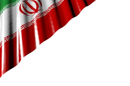 nice memorial day flag 3d illustration  - shining flag of Iran with large folds lying flat in left top corner isolated on white