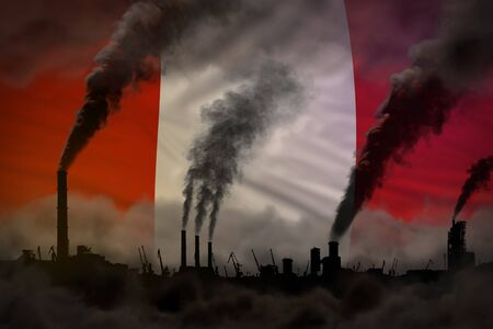 Global warming concept - dense smoke from plant pipes on Peru flag background with space for your text - industrial 3D illustration