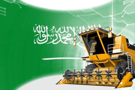 Digital industrial 3D illustration of yellow advanced grain combine harvester on Saudi Arabia flag - agriculture equipment innovation concept
