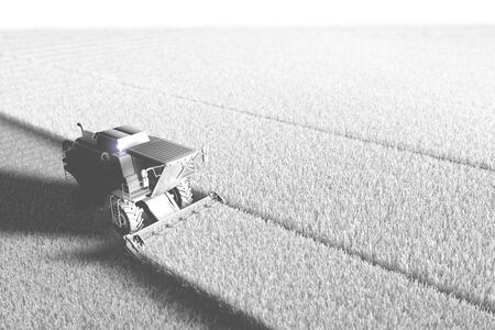 Industrial 3D illustration of big rural combine harvester working on field rendered in white color in drone photography style for using in design