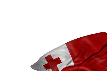 nice Tonga flag with big folds lying flat in bottom right corner isolated on white - any holiday flag 3d illustration