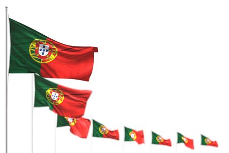 pretty anthem day flag 3d illustration  - Portugal isolated flags placed diagonal, photo with soft focus and place for your text Фото со стока