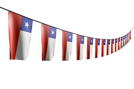 pretty many Chile flags or banners hanging diagonal with perspective view on rope isolated on white - any celebration flag 3d illustration 写真素材