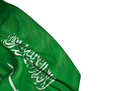 wonderful Saudi Arabia flag with large folds lie in bottom left corner isolated on white - any feast flag 3d illustration 版權商用圖片