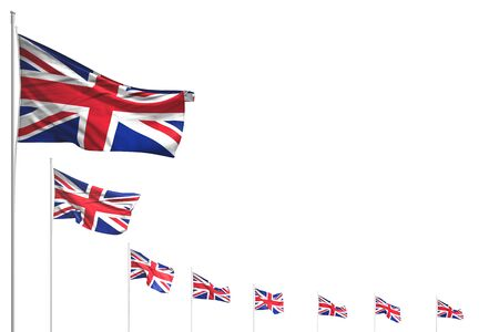 beautiful any feast flag 3d illustration  - many United Kingdom (UK) flags placed diagonal isolated on white with space for text