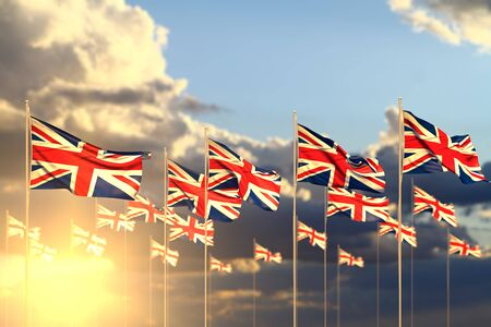 cute many United Kingdom (UK) flags on sunset placed in row with bokeh and space for your content - any celebration flag 3d illustration