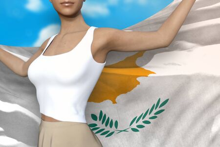 young lady in bright skirt is holding Cyprus flag in her hands behind her on the cloudy sky background - flag concept 3d illustration Stockfoto