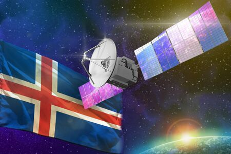 Satellite with Iceland flag, space communications technology concept - 3D Illustration 스톡 콘텐츠