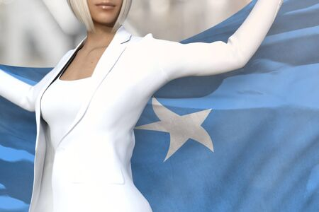 pretty business woman is holding Somalia flag in her hands behind her on the office building background - flag concept 3d illustration Stockfoto