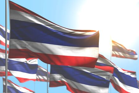 beautiful many Thailand flags are wave against blue sky photo with soft focus - any celebration flag 3d illustration