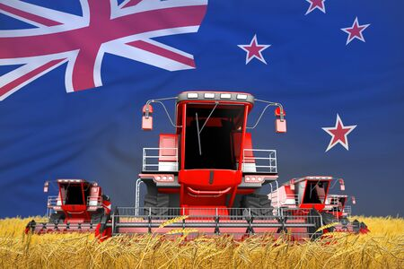 industrial 3D illustration of four bright red combine harvesters on rural field with flag background, New Zealand agriculture concept 写真素材
