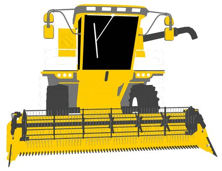 cartoon colored 3D model of yellow wheat harvester with harvest pipe on white, clip art for food production - industrial 3D illustration