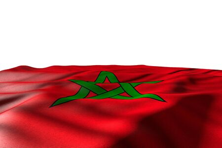 nice mockup illustration of Morocco flag lying with perspective view isolated on white with space for text - any holiday flag 3d illustration