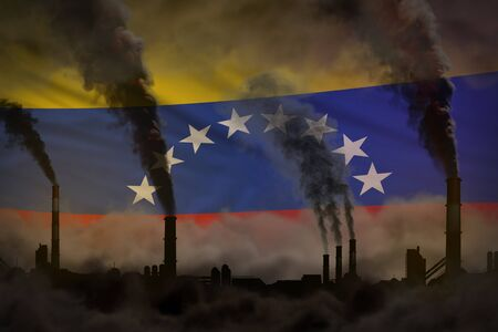 Dark pollution, fight against climate change concept - industry pipes heavy smoke on Venezuela flag background - industrial 3D illustration