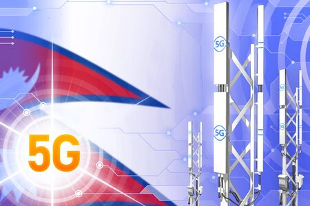Nepal 5G network industrial illustration, large cellular tower or mast on hi-tech background with the flag - 3D Illustration Фото со стока
