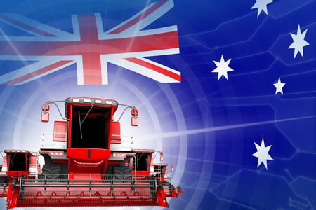 Farm machinery modernisation concept, red modern wheat combine harvesters on Australia flag - digital industrial 3D illustration