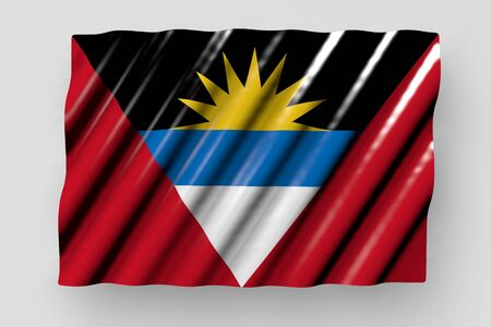 pretty shining flag of Antigua and Barbuda with large folds lay isolated on grey - any feast flag 3d illustration  版權商用圖片