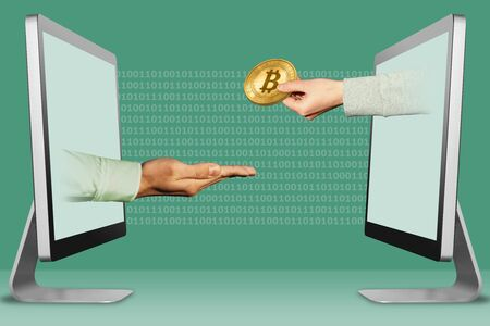 commerce concept, hands from laptops. pleading gesture and hand with bitcoin . 3d illustration