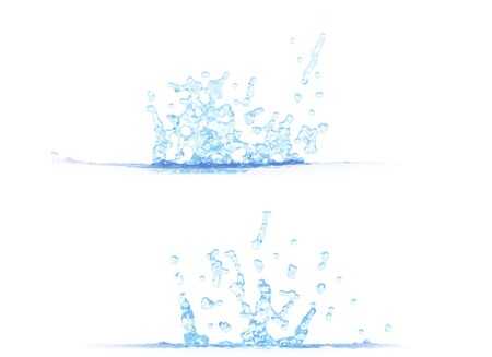 two side views of nice water splash - 3D illustration, mockup isolated on white - creative illustration Banque d'images - 129657166