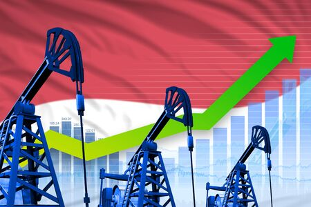 Monaco oil industry concept, industrial illustration - growing graph on Monaco flag background. 3D Illustration Фото со стока