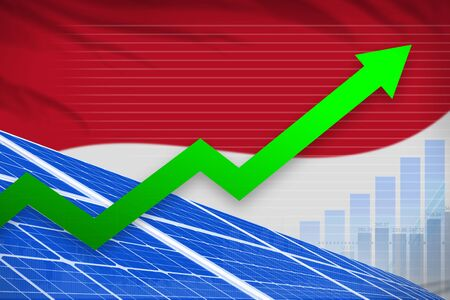 Monaco solar energy power rising chart, arrow up  - alternative energy industrial illustration. 3D Illustration Фото со стока