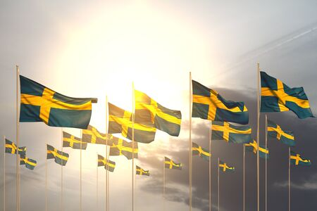 cute many Sweden flags in a row on sunset with empty space for your text - any celebration flag 3d illustration 스톡 콘텐츠 - 129657218