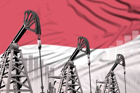 Monaco oil and petrol industry concept, industrial illustration on Monaco flag background. 3D Illustration Stock Photo