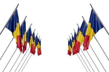 cute any celebration flag 3d illustration  - many Romania flags hangs on in corner poles from left and right sides isolated on white