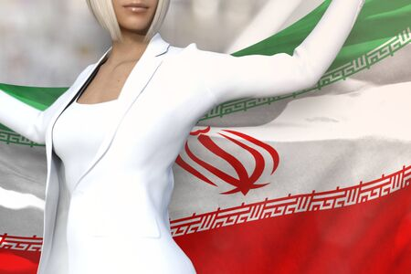 beautiful business lady is holding Iran flag in her hands behind her on the office building background - flag concept 3d illustration Stockfoto