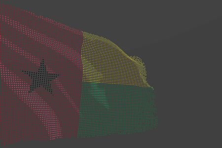 wonderful modern photo of Guinea-Bissau isolated flag made of glowing dots wave on grey background - any celebration flag 3d illustration