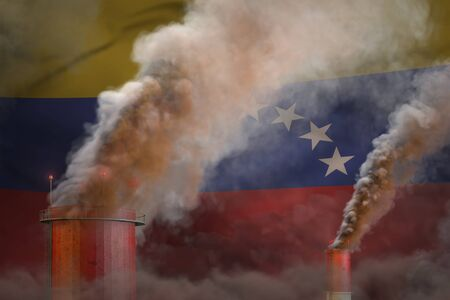 heavy smoke of factory pipes on Venezuela flag - global warming concept, background with place for your content - industrial 3D illustration