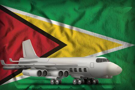 bomber on the Guyana flag background. 3d Illustration Stockfoto - 129590907