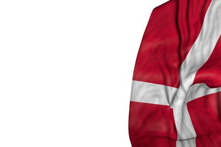 wonderful any holiday flag 3d illustration  - Denmark flag with big folds lay in left side isolated on white