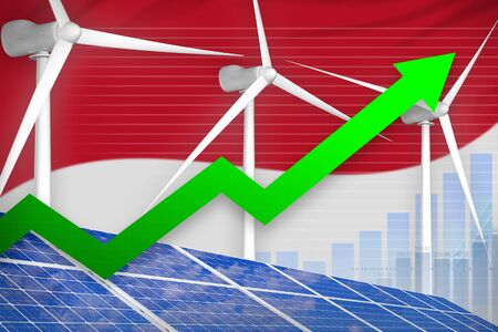 Monaco solar and wind energy rising chart, arrow up  - alternative energy industrial illustration. 3D Illustration Фото со стока