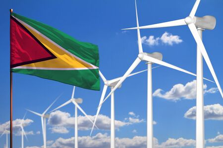 Guyana alternative energy, wind energy industrial concept with windmills and flag - alternative renewable energy industrial illustration, 3D illustration Archivio Fotografico - 129657246