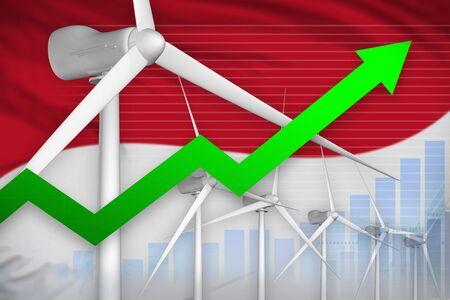 Monaco wind energy power rising chart, arrow up  - green energy industrial illustration. 3D Illustration Archivio Fotografico - 129657365