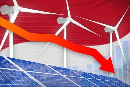 Monaco solar and wind energy lowering chart, arrow down  - modern energy industrial illustration. 3D Illustration 스톡 콘텐츠