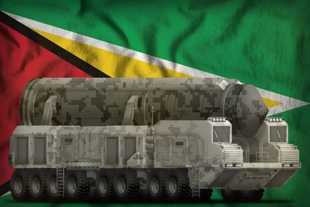 intercontinental ballistic missile with city camouflage on the Guyana flag background. 3d Illustration