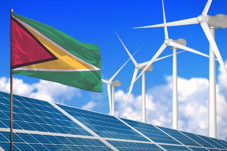 Guyana solar and wind energy, renewable energy concept with windmills - renewable energy against global warming - industrial illustration, 3D illustration