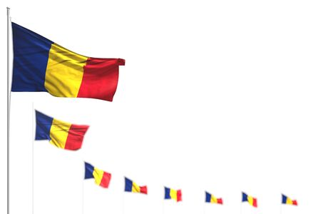 beautiful Romania isolated flags placed diagonal, photo with bokeh and place for content - any feast flag 3d illustration