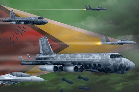 Guyana bomb air strike concept. Modern Guyana war airplanes bombing on flag background. 3d Illustration